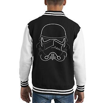 Originele Stormtrooper Line Art silhouet Kid's Varsity Jacket