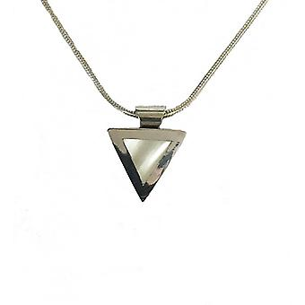 """Cavendish French Silver mother of pearl pendant with 16-18""""; Silver chain"""