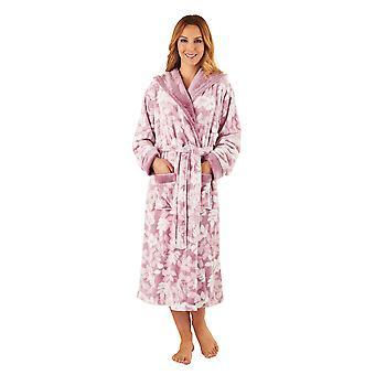 Slenderella HC8321 vrouw roze blad afdrukken Robe lange mouw badjas