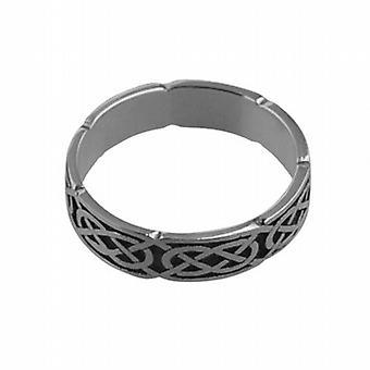 تتأكسد الفضة 4 مم سلتيك خاتم الزواج حجم Q
