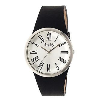 Yksinkertaistaa 2000 nahka bändi Unisex Watch - hopea