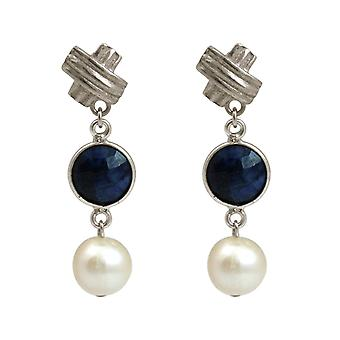 Boucles d'oreilles Gemshine saphirs bleus et perles de culture blanche. 925 Argent ou plaqué or