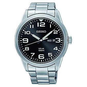 השמש Seiko גברים שעון אנלוגי עם רצועת פלדה נירוסטה SNE471P1