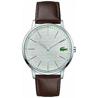 Lacoste | Luna para hombre | Brown correa de cuero | Dial de plata | 2011002 reloj