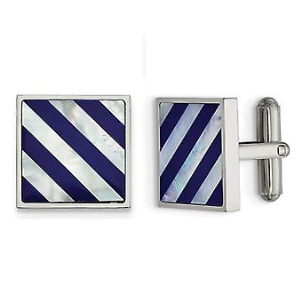 Mens Mother of Pearl Striped Cuff Links in Stainless Steel