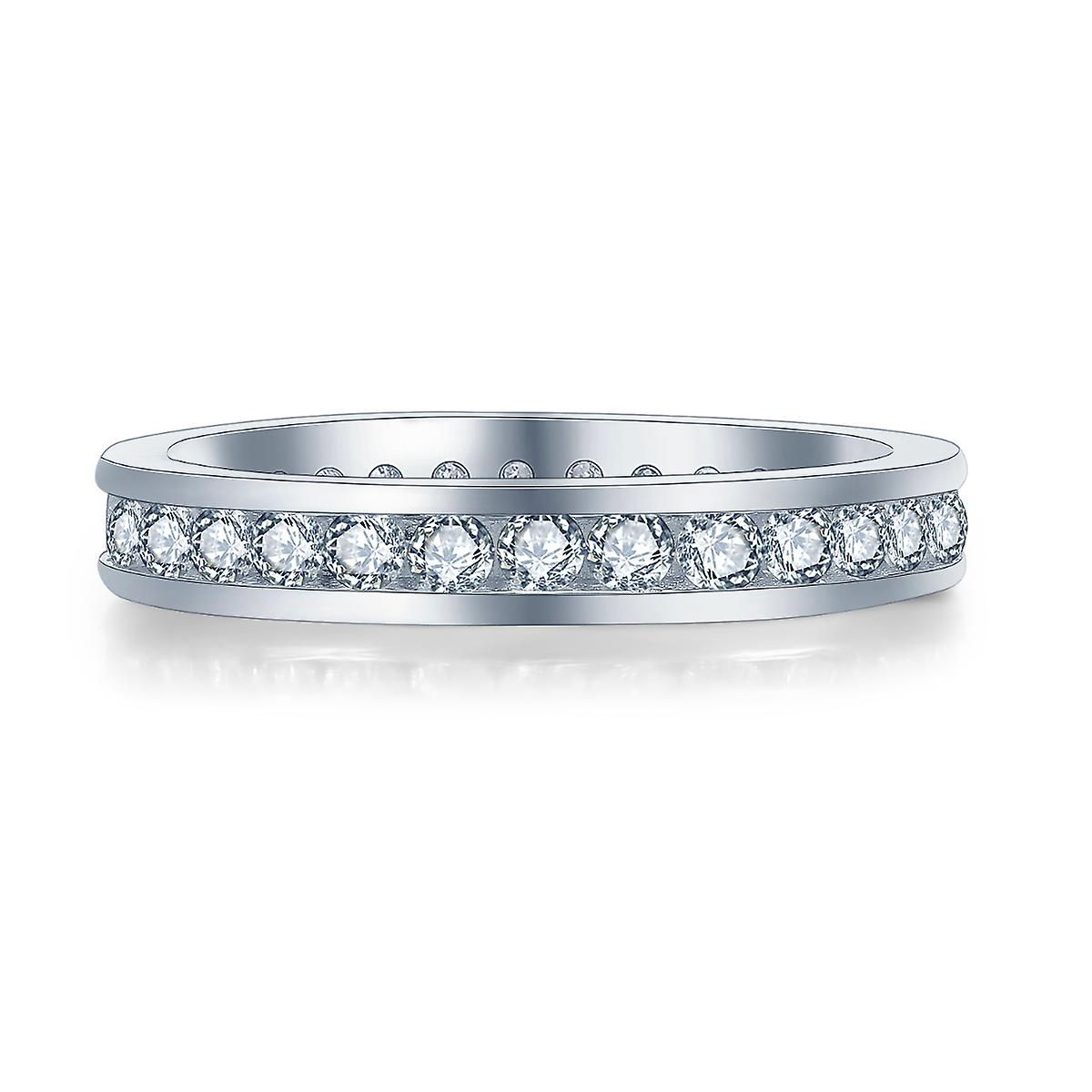 925 Sterling Silver Brilliant Round Cut Clear Full Eternity Band Ring