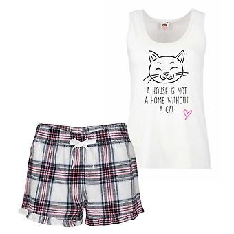A House Is Not A Home Without A Cat Pink Tartan Pyjamas
