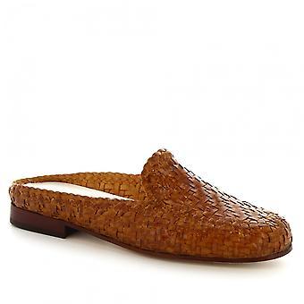 Leonardo Shoes Women's handmade mules shoes in tan handwoven calf leather