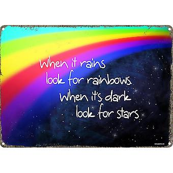 Grindstore When It Rains Look For Rainbows Tin Sign