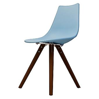 Fusion Living Iconic Blue Plastic Dining Chair With Dark Wood Legs