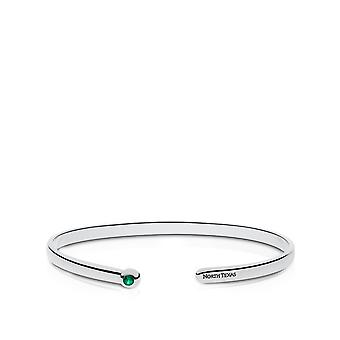 University Of North Texas Engraved Sterling Silver Emerald Cuff Bracelet