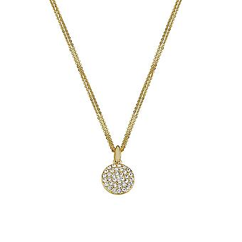 Eternal Collection Mezzo Clear Crystal Gold Tone Disc Pendant Necklace