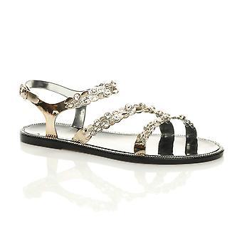 Ajvani naisten tasainen Diamante strappy solki kesällä hyytelö ranta sandaalit