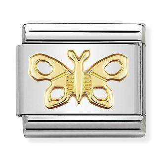 Nomination Classic Butterfly Steel and 18k Gold Link Charm 030114/02