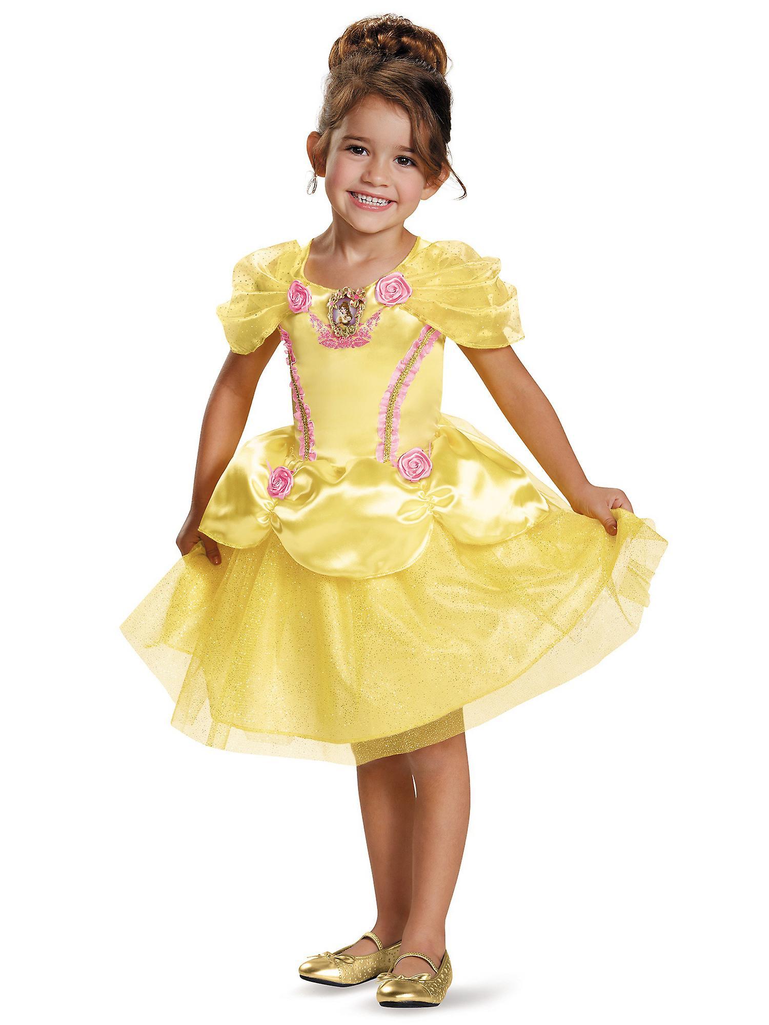 Belle klassiska Disney Princess skönheten och odjuret klä upp flickor dräkt S