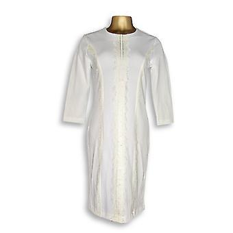 Dennis Basso kjole kaviar crepe 3/4 ermet strikk Ivory Cream A289803