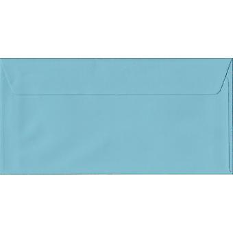 قشر أزرق فاتح/ختم دل مغلفات الأزرق الملون. 100gsm ورقة مجلس رعاية الغابات المستدامة. 110 مم × 220 مم. المحفظة نمط المغلف.
