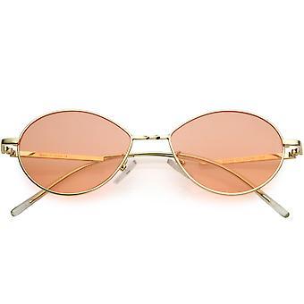 Kleine Retro Farbe getönte Linsen Gold Metall Rahmen ovale Sonnenbrille 50mm