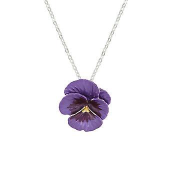 Ewige Sammlung Stiefmütterchen Perfektion lila Emaille Silber Ton Blumenanhänger
