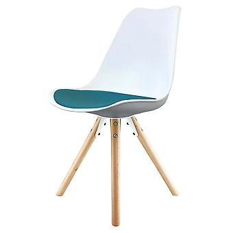 Fusion Living Eiffel Inspired White And Petrol Blue Plastic Dining Chair z pyramid light wood legs