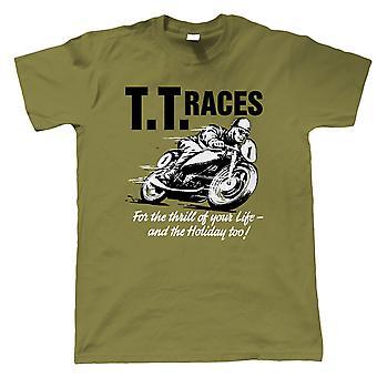 TT Races, Mens Retro Motorcycle T-Shirt - Motorbikes Gift Him Dad