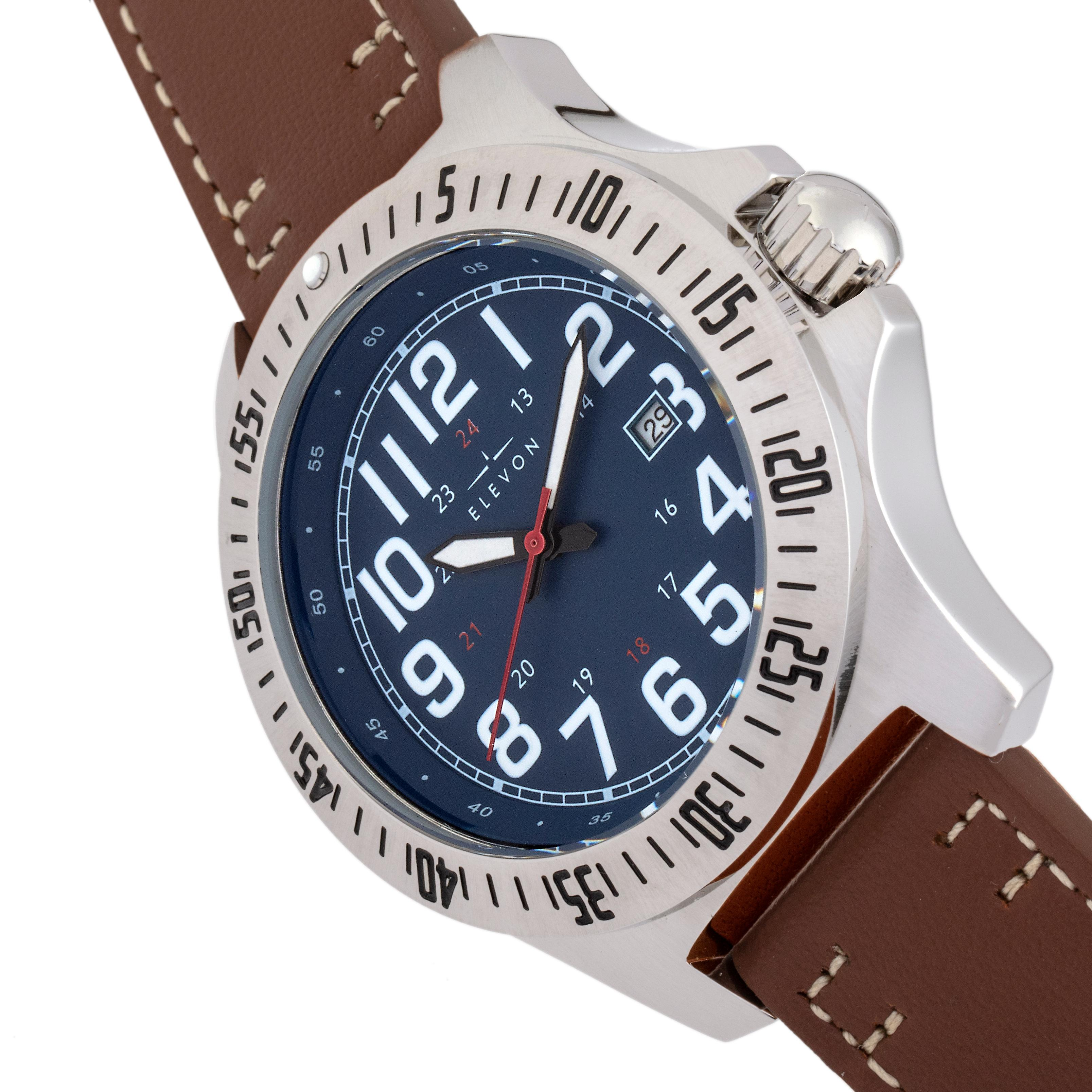 Elevon Aviator Leather-Band Watch w/Date - Brown/Blue