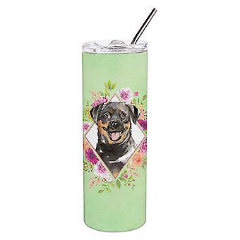 Rottweiler grüne Blumen Doppel wandbemauert Edelstahl 20 oz Skinny Tumbler