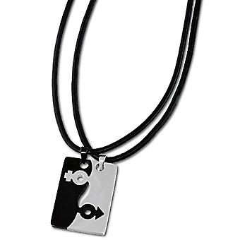 Amello - Chain with women's pendant - stainless steel and leather - 50 mm - cod. VESK002S