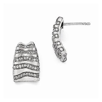 925 Sterling Silver Pave Brushed Rhodium plated and CZ Cubic Zirconia Simulated Diamond Brilliant Embers Post Earrings J