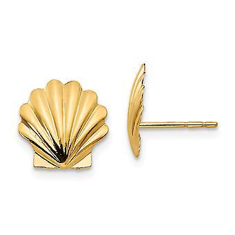 14k oro amarillo pulido Shell Post Pendientes joyería regalos para las mujeres
