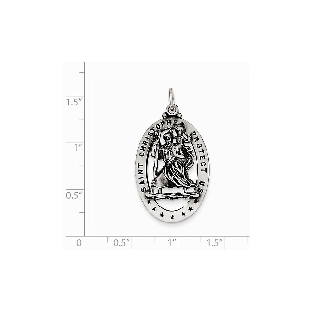 925 Sterling Silver Solid Satin Open back Antique finish St. Christopher Medal Charm - 3.7 Grams