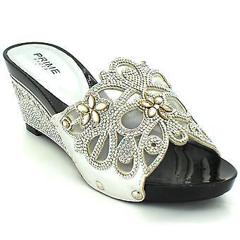 Aarz London Bevin- Diamante Mid-heel Wedges