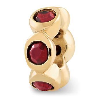 925 Plata esterlina pulido oro-flasheado J. Crystal Bead Charm