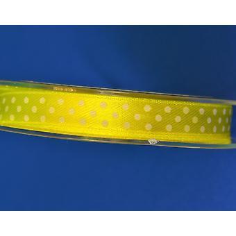 10m gelb 9,5mm breite Polka Dot Satin Handwerk Band | Bänder & Schleifen für Handwerk