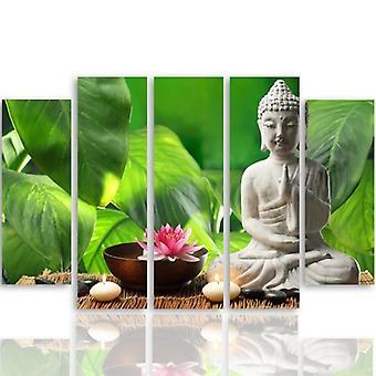 Cinque parti immagine su tela, Pentaptych, tipo B, Buddha 4
