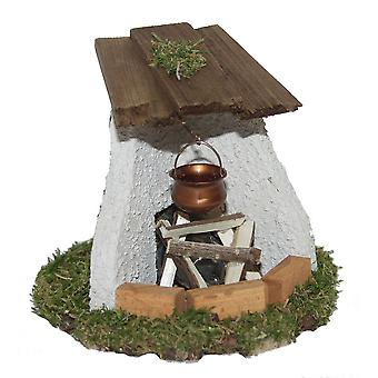 Crib accessories Nativity scene crib set brick edifold illuminated with fire wood and copper boiler