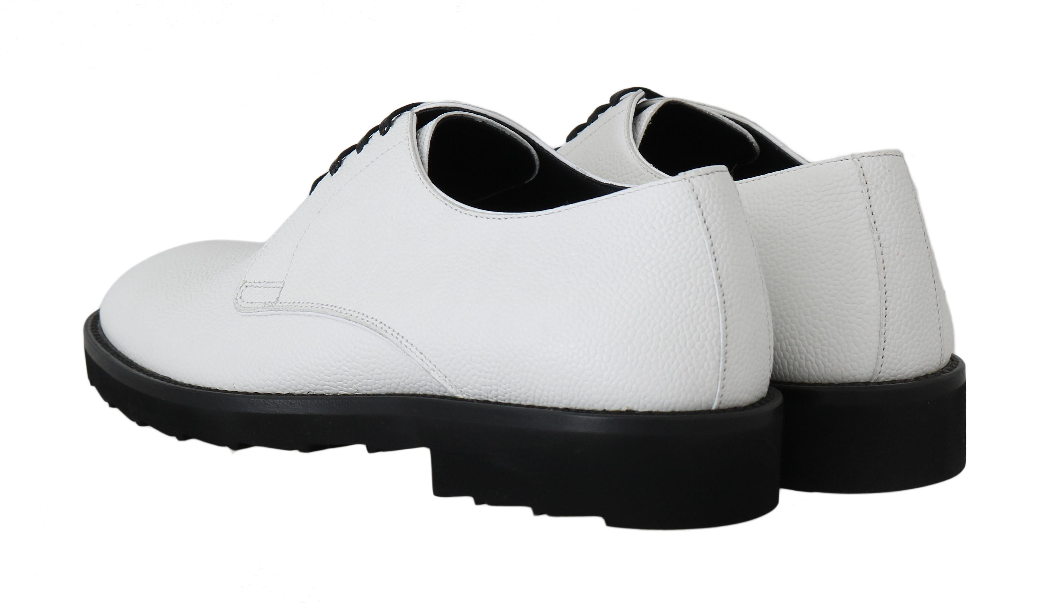 White Leather Derby Dress Formal Shoes With Contrast Sole