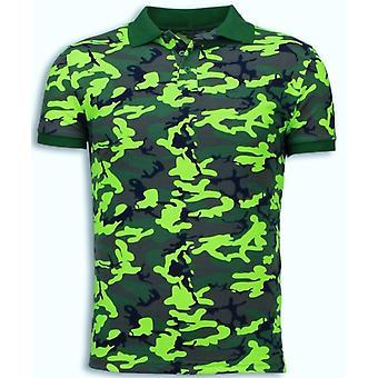 قميص كامو بولو - نيون التمويه قميص البولو - أصفر أخضر