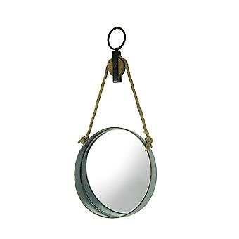 Farmhouse Rustic Round Metal Barrel Ring On Rope Pulley Decorative Wall Mirror