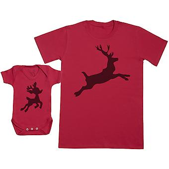 Baby Reinbeer & Reindeer Matching Father Baby Gift Set - Mens T Shirt & Baby Bodysuit
