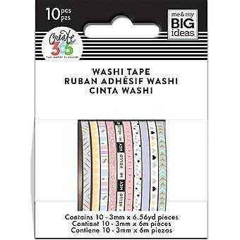 Happy Planner Mini Washi Tape 3mmx6.56yd Chaque 10/Pkg-Pastel