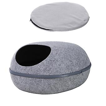 PawHut w/ Fleece Pad Cat Bed Home 40°C Heating Access Hole Zip Fastening Chew-Proof Cord Brown