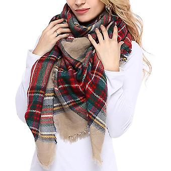 Plaid Cashmere Feel Classic Soft Luxurious Winter Scarf