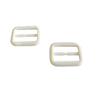 White Large Plastic Rectangle Slider Buckle