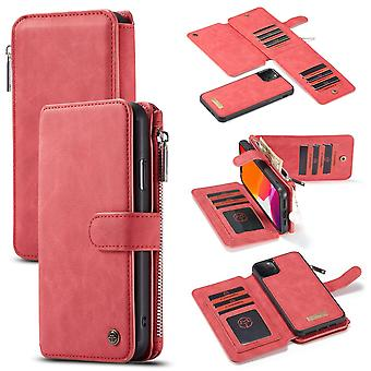 For iPhone 11 Pro Max Case, Wallet PU Leather Detachable Flip Cover, Red