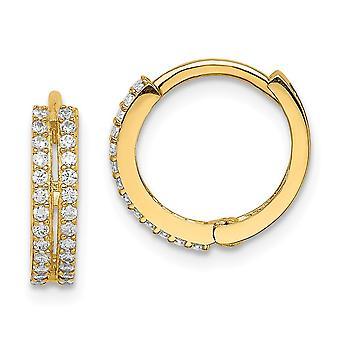 14k Madi K CZ Cubic Zirconia Simulated Diamond Hinged Hoop Earrings Jewelry Gifts for Women