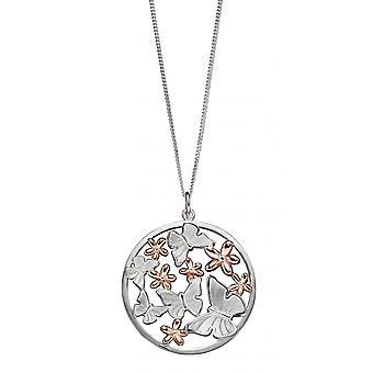 جوشوا جيمس الصفاء الفضة مع روز الذهب الطلاء الفراشة والزهور قلادة