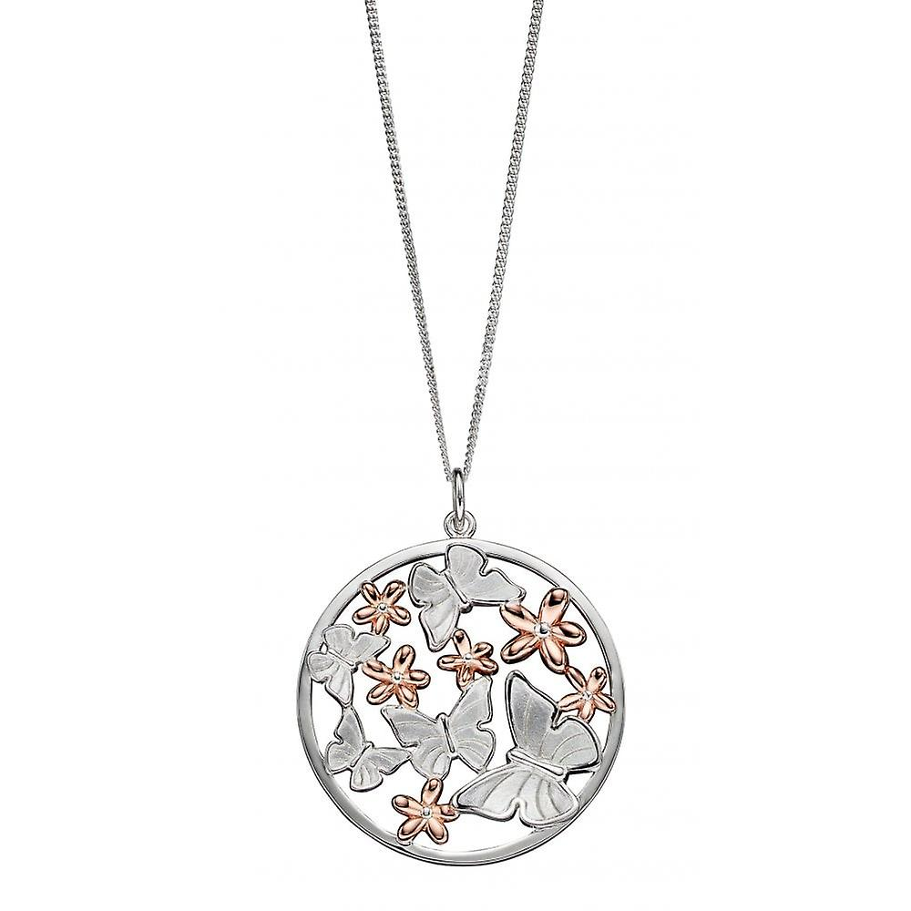 Joshua James Serenity Silver With Rose Gold Plating Butterfly & Flowers Pendant