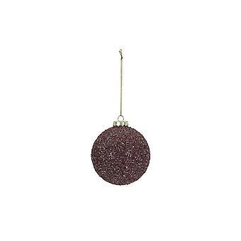 Lys & Levende Christmas Bauble Runde 8cm Ball Glass Lilla Glitter