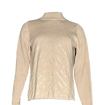 Joan Rivers Classics Collection Women's Top Mock Turtleneck Bege A344506